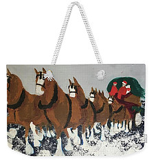 Weekender Tote Bag featuring the painting Clydsdale Horses Bringing Home The Tree by Donald J Ryker III
