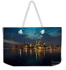 Cn  Tower And Toronto Down Town Water Front Beauty At Night Full Blast Photo Weekender Tote Bag