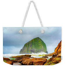 Coastal Storm At Haystack Weekender Tote Bag