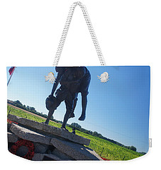 Weekender Tote Bag featuring the photograph Cobber Statue by Therese Alcorn