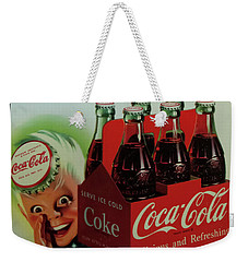 Weekender Tote Bag featuring the photograph Coca Cola Antique Sign by Chris Flees
