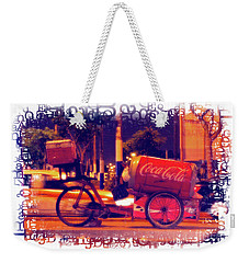 Weekender Tote Bag featuring the photograph Coca Cola Tricycle Bin - Lima by Mary Machare