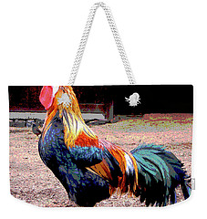 Weekender Tote Bag featuring the mixed media Cock A Doodle Doo by Charles Shoup
