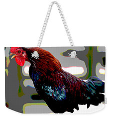 Weekender Tote Bag featuring the mixed media Cock Crowing by Charles Shoup