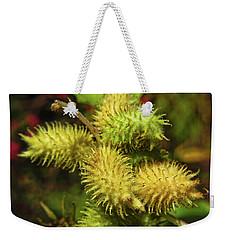 Weekender Tote Bag featuring the photograph Cocklebur by Adria Trail