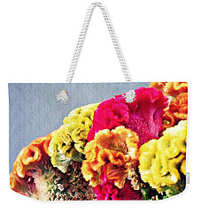 Weekender Tote Bag featuring the photograph Cockscomb Bouquet 2 by Sarah Loft