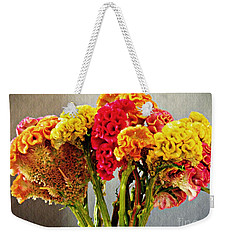 Weekender Tote Bag featuring the photograph Cockscomb Bouquet 3 by Sarah Loft