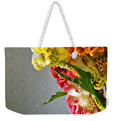 Weekender Tote Bag featuring the photograph Cockscomb Bouquet 4 by Sarah Loft