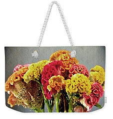 Weekender Tote Bag featuring the photograph Cockscomb Bouquet by Sarah Loft