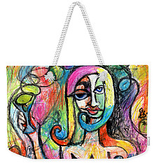 Weekender Tote Bag featuring the mixed media Hippy Chic Funky Color Pop Cocktail by Genevieve Esson