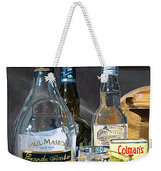 Weekender Tote Bag featuring the painting Cocktails And Mustard by Lynne Reichhart