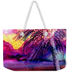 Weekender Tote Bag featuring the painting Coconut Palm Tree 2 by Marionette Taboniar