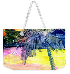 Weekender Tote Bag featuring the painting Coconut Palm Tree 3 by Marionette Taboniar