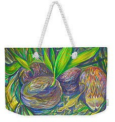 Weekender Tote Bag featuring the painting Coconuts by Anna  Duyunova