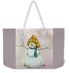 Weekender Tote Bag featuring the painting Cody's First Frosty by Lynn Babineau