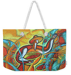 Weekender Tote Bag featuring the painting Coffee Bean Harvest by Leon Zernitsky