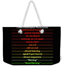 Coffee Consumption Threat Levels Mug Weekender Tote Bag