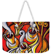 Weekender Tote Bag featuring the painting Coffee Cups by Leon Zernitsky
