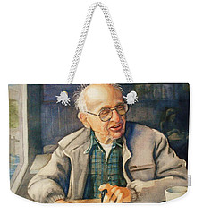 Weekender Tote Bag featuring the painting Coffee With Andy by Marilyn Jacobson