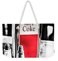 Weekender Tote Bag featuring the photograph Coke Napkins by Karol Livote