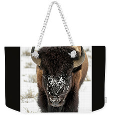 Cold Bison Stare Weekender Tote Bag