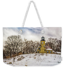 Weekender Tote Bag featuring the photograph Cold Day At White River Lighthouse by Nick Zelinsky