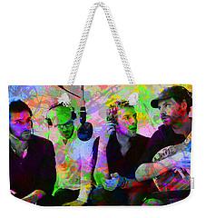 Coldplay Band Portrait Paint Splatters Pop Art Weekender Tote Bag by Design Turnpike