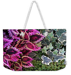 Weekender Tote Bag featuring the mixed media Coleus And Ivy- Photo By Linda Woods by Linda Woods
