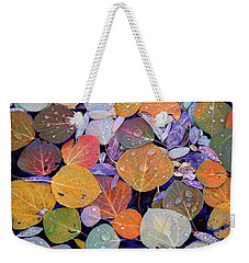 Collage Of Aspen Leaves At Mcgee Creek In The Eastern Sierras Weekender Tote Bag