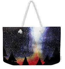 Weekender Tote Bag featuring the painting Collision by Edwin Alverio