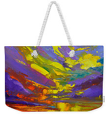 Weekender Tote Bag featuring the painting Coloful Sunset, Oil Painting, Modern Impressionist Art by Patricia Awapara