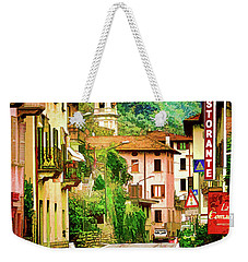 Weekender Tote Bag featuring the digital art Colonno.lake Como by Jennie Breeze