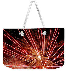 Weekender Tote Bag featuring the photograph Color Blast Fireworks #0731 by Barbara Tristan