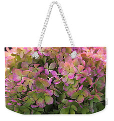 Weekender Tote Bag featuring the photograph Color-changing Little Lime Hydrangea by Rona Black