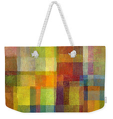 Weekender Tote Bag featuring the painting Color Collage With Green And Red 2.0 by Michelle Calkins