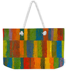 Weekender Tote Bag featuring the painting Color Collage With Stripes by Michelle Calkins
