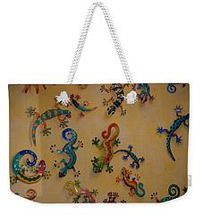 Weekender Tote Bag featuring the photograph Color Lizards On The Wall by Rob Hans