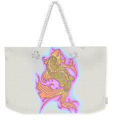 Weekender Tote Bag featuring the drawing Color Sketch Koi Fish by Justin Moore