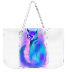 Weekender Tote Bag featuring the painting Color Wash Cat by Nick Gustafson