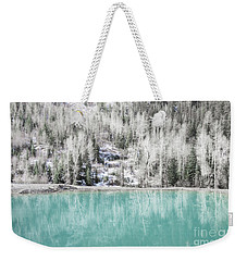 Colorado Aqua Woodland Forest Landscape Weekender Tote Bag by Andrea Hazel Ihlefeld