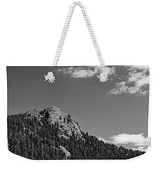 Weekender Tote Bag featuring the photograph Colorado Buffalo Rock With Waxing Crescent Moon In Bw by James BO Insogna