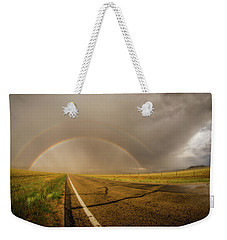 Weekender Tote Bag featuring the photograph Colorado Double Rainbow by Chris Bordeleau