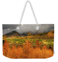 Weekender Tote Bag featuring the digital art Colorado Fall Colors  by OLena Art Brand