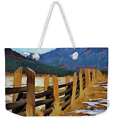 Weekender Tote Bag featuring the painting Colorado Fence Line  by Jeff Kolker
