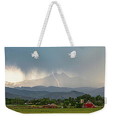 Weekender Tote Bag featuring the photograph Colorado Front Range Lightning And Rain Panorama View by James BO Insogna