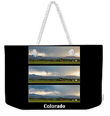 Weekender Tote Bag featuring the photograph Colorado Front Range Longs Peak Lightning And Rain Poster by James BO Insogna