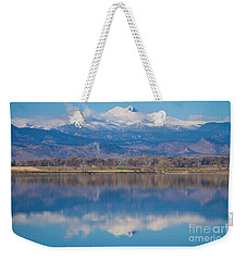 Colorado Longs Peak Circling Clouds Reflection Weekender Tote Bag