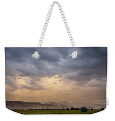 Weekender Tote Bag featuring the photograph Colorado Rocky Mountain Foothills Storms by James BO Insogna