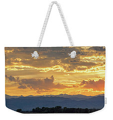 Weekender Tote Bag featuring the photograph Colorado Rocky Mountain Front Range Panorama Sunset by James BO Insogna