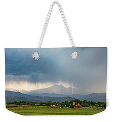 Weekender Tote Bag featuring the photograph Colorado Rocky Mountain Red Barn Country Storm by James BO Insogna